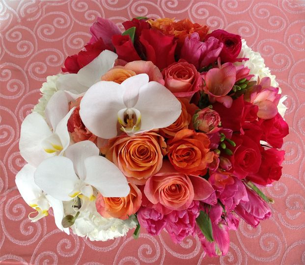 Sherbet inspired wedding brunch. Pinks, corals, oranges & white reception centerpieces. Ombre...