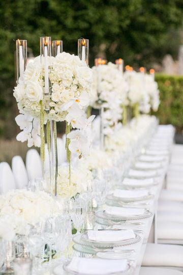 White modern wedding reception