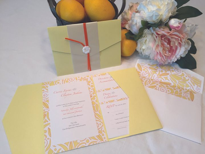 Tmx Lemon Yellow Invite 51 1037615 New Bedford, MA wedding invitation