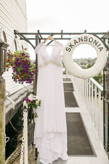 bridal gown at entrance