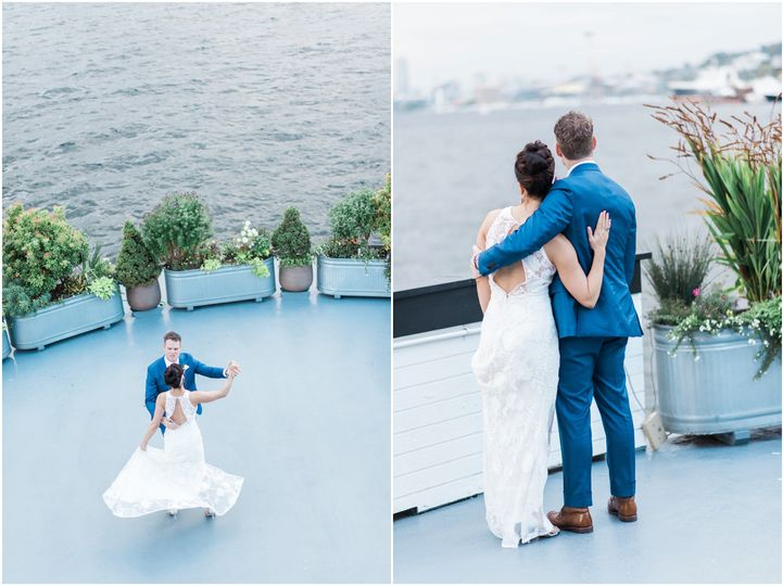 bride and groom on deck