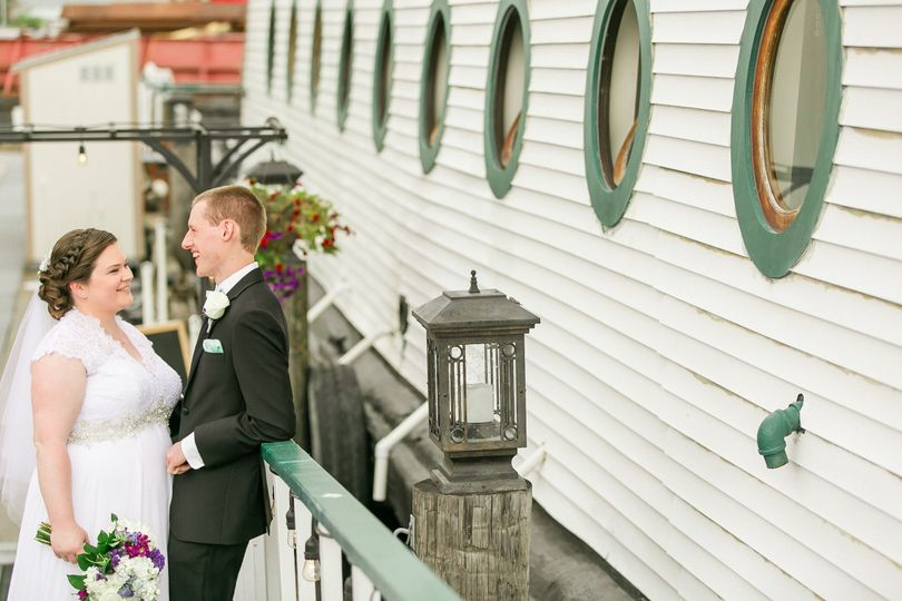 bride and groom on ramp
