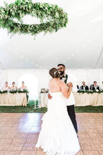 Newlyweds slow dance