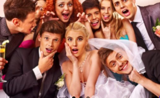 Bride with the wedding guests