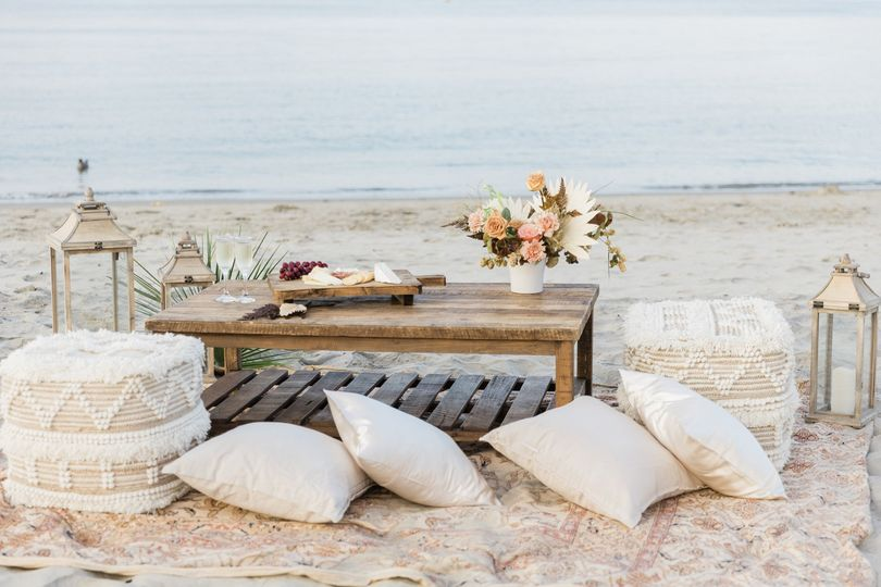 Loungs setup at Monterey Beach