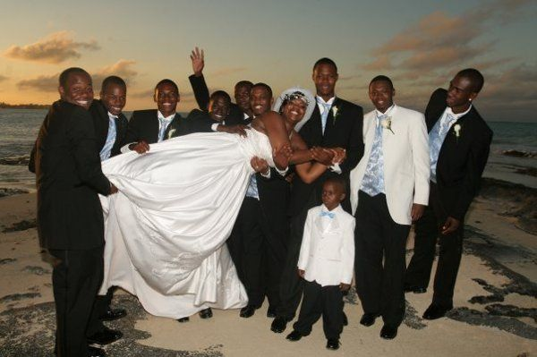 The men try to hold the bride!