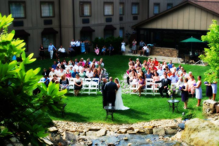 Ceremony in the waterfall courtyard
