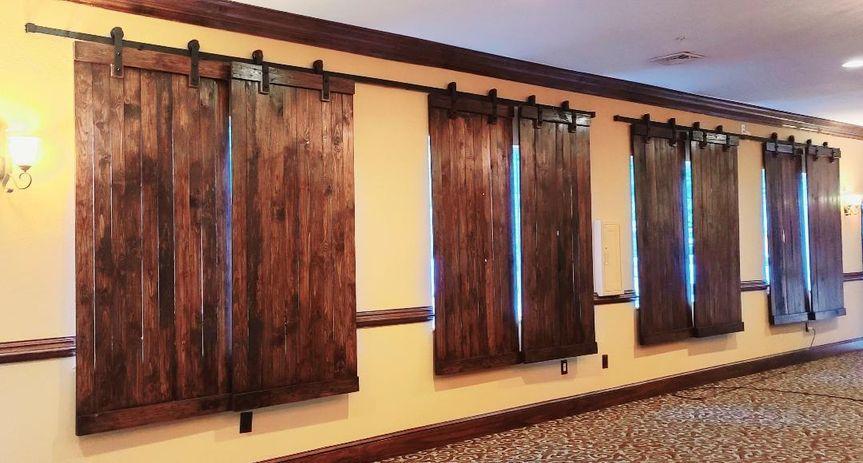 Barn doors in the ballroom