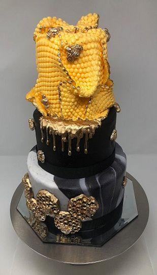 Honey Bee Hive w/ Gold Drip