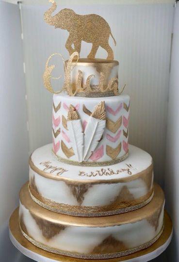 Pink & Gold Tribal Cake