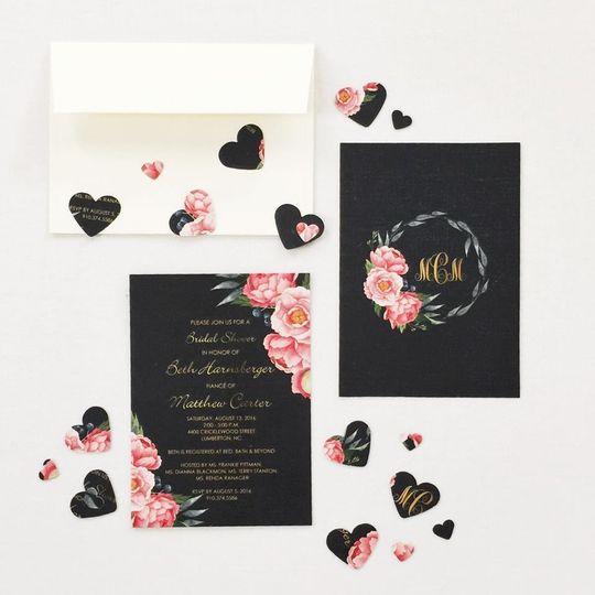 Black floral invite