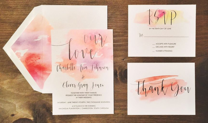 Ombre inspired invite