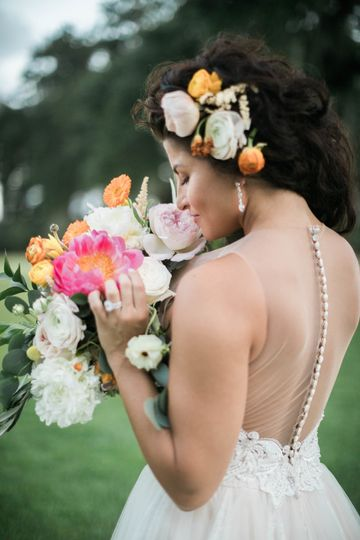 The flowers in her hair