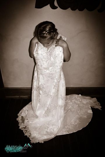 Daughter in brides dress