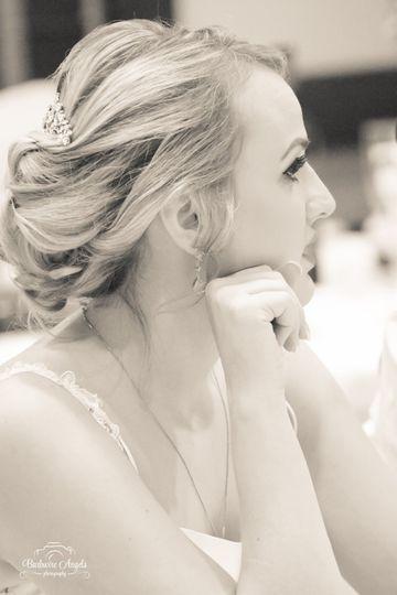 Beautiful bride watching