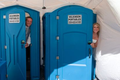 Groom and bride in the stalls