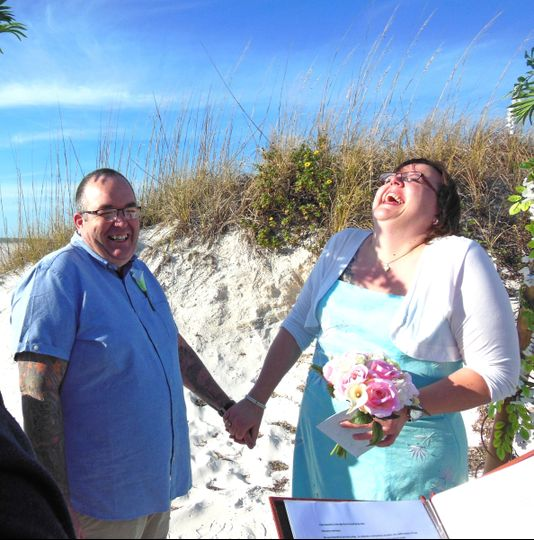 Newlyweds share a laugh