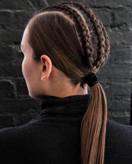 Braids into a ponytail