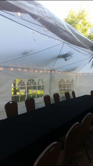 tent outside seating