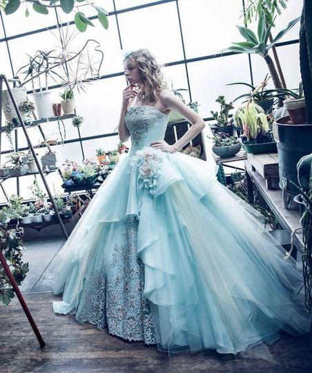 Blue wedding gown