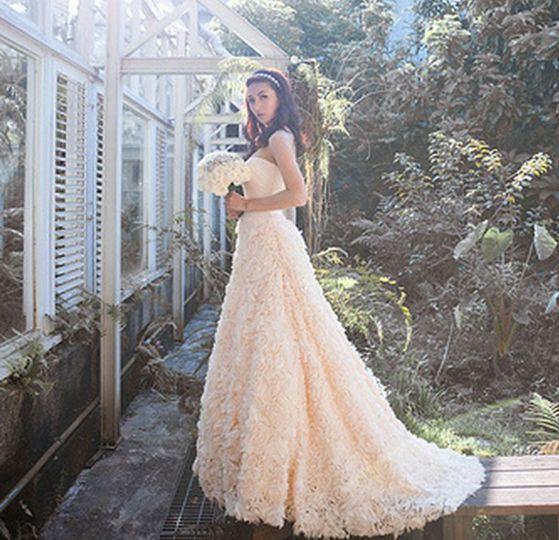 Textured wedding gown