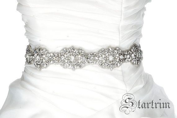 """This is very fancy, very beautiful luxury rhinestone with pearl sash for brides.  The sash is 1.5""""..."""