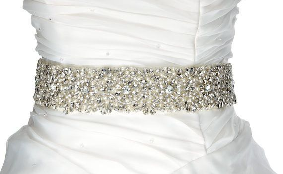 This is very fancy, very beautiful luxury rhinestone with pearl sash for brides.   Full of ,tear...