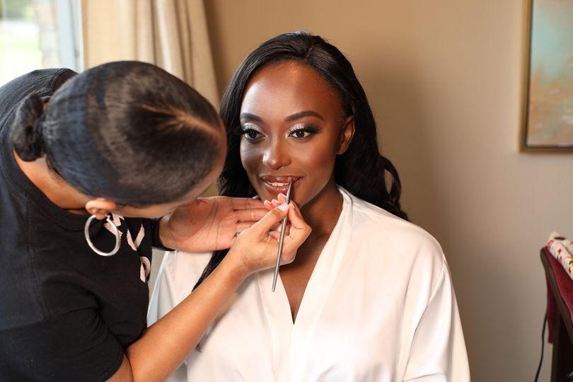 Lipstick on bride