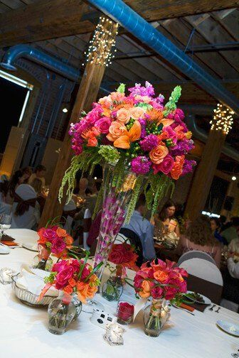 Fall orange hot pink Centerpiece