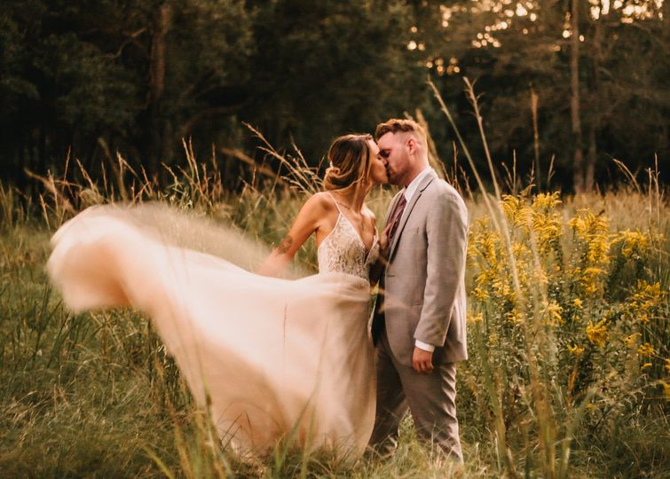 Golden hour bride + groom