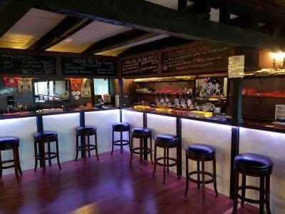 Bar stools make the bar area comfortable