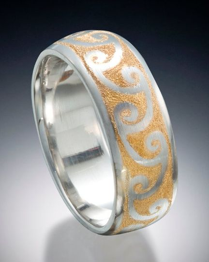 Platinum and 24k inlay wave band