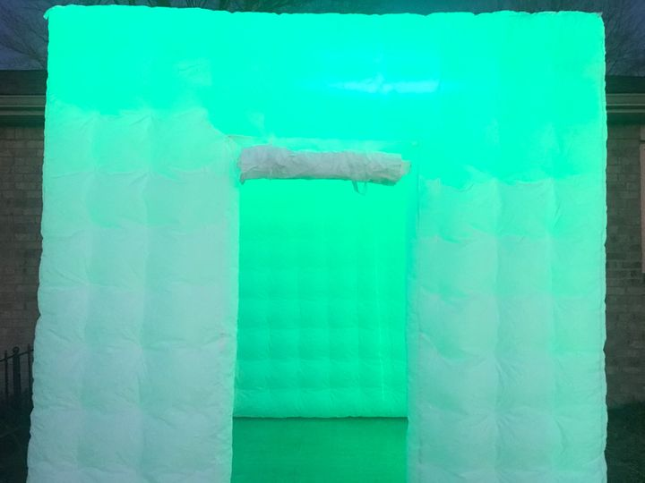 Photo booth with green LED lights