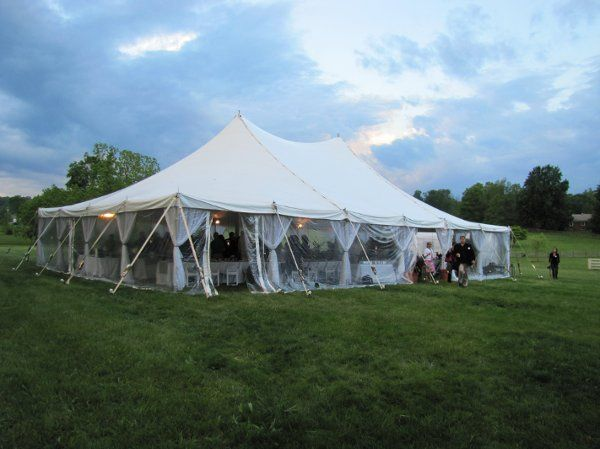 40x60 Pole Tent w/ Clear Sides and Side Pole Drapes