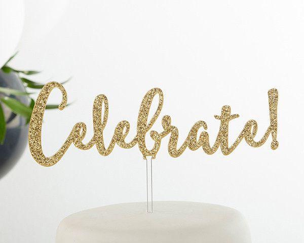 18135cb celebrate gold glitter acrylic cake topper