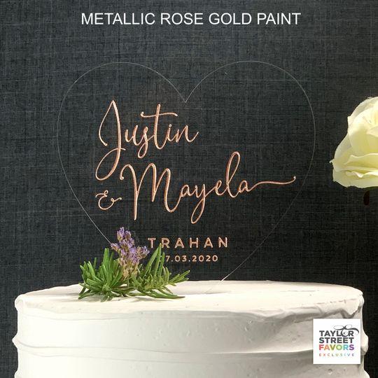 heart cake topper script rose gold metallic copy 51 786025 159501009779120