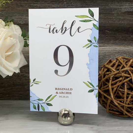 Wedding Table Numbers Silver