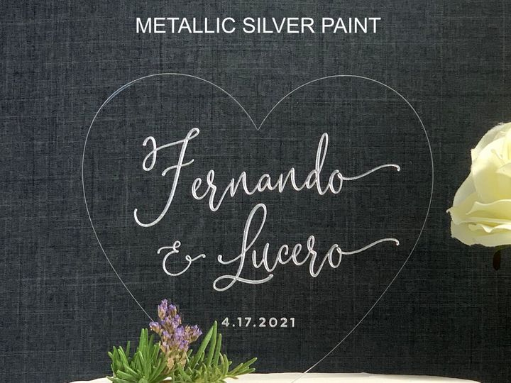 Tmx Heart Cake Topper Script Silver Metallic Copy 51 786025 159501014999822 Templeton, California wedding favor