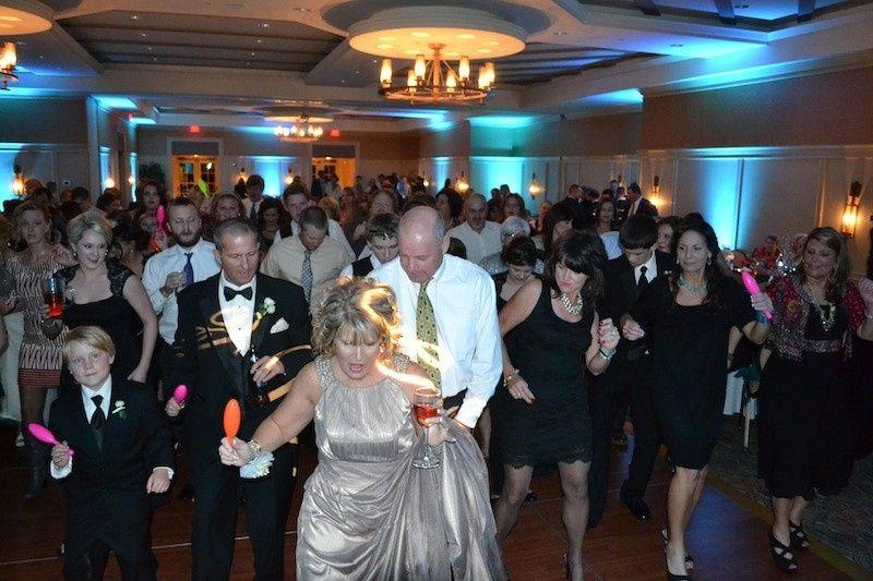 DJTOD wireless uplights and packed dance floor