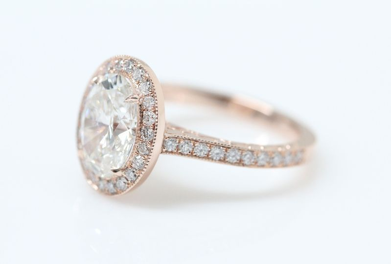 oval halo rose gold ere