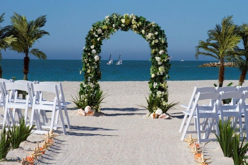 Wedding arbor with floral decor