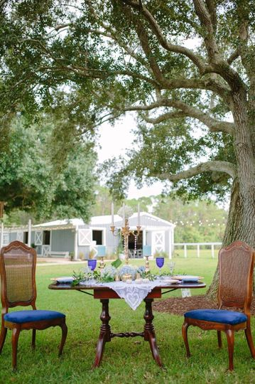Blue vintage table and chairs