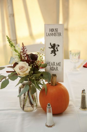 Centerpieces Flowers: Simple Bouquets Table name/number: Foliage Events Photo credit: Boro...