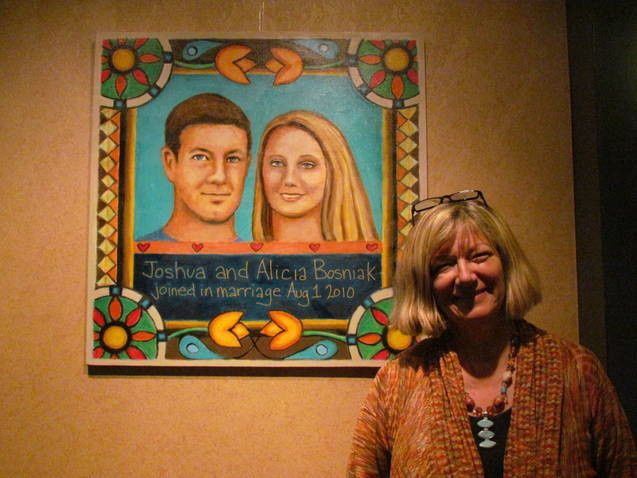 Another art service I provide is folk art couple portraits. I match them to your décor and color...