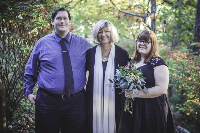 I love this picture of a small, intimate elopement ceremony at my place. I did the flowers for the...