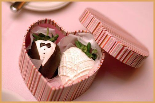 Bride & Groom strawberries in heart-shaped box.
