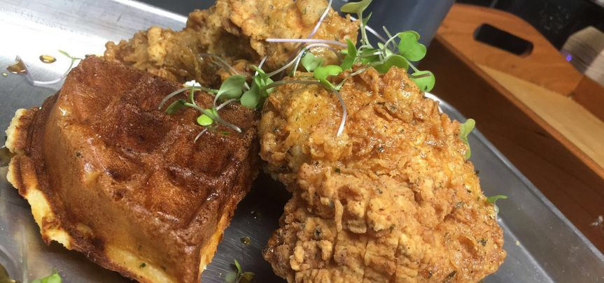 Seoul Fried Chicken and Cinnamon Maple Waffles
