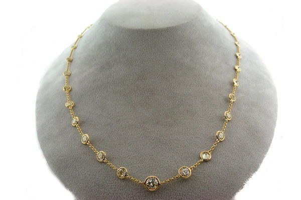 18k yg 7 65ct diamond by the yard necklace