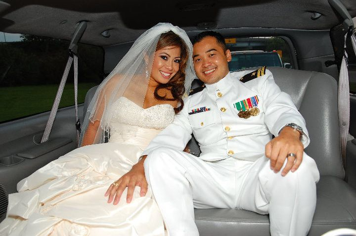 Bride and groom inside the car