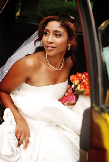 Bride going out of the car